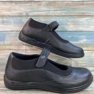 Drew Rose Black Leather Orthopedic Mary Jane Shoe